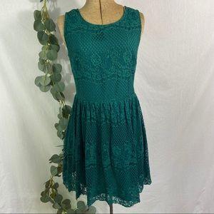 Forever 21 Teal Lace Key Hole Back Dress